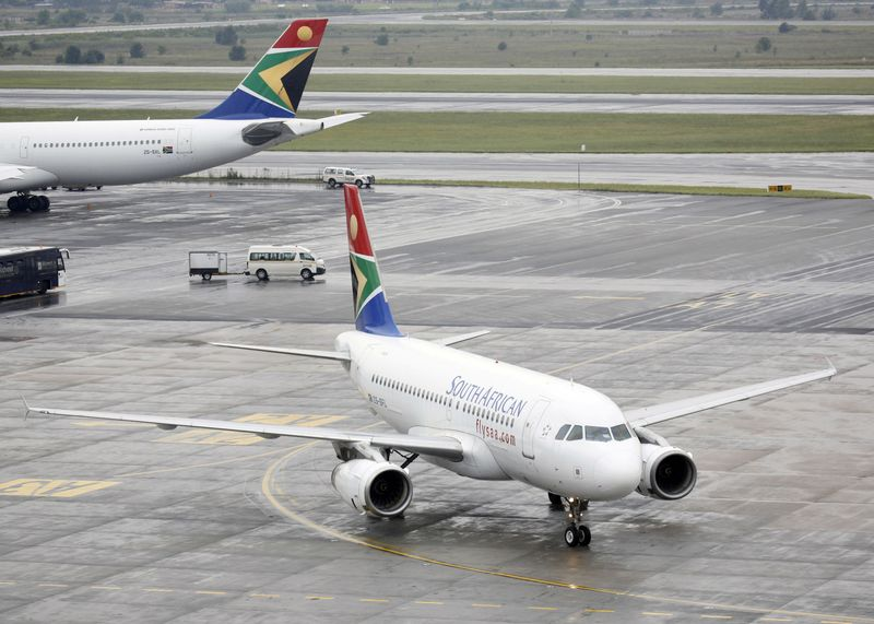 South African Airways (SAA) plane taxis after landing at O.R. Tambo International Airport in Johannesburg