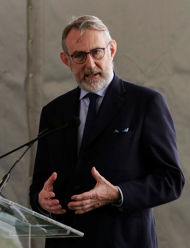 Chairman of the Executive Board and CEO of Heineken Jean Francois van Boxmeer delivers a speech during the official opening of a new Heineken brewery in Meoquii