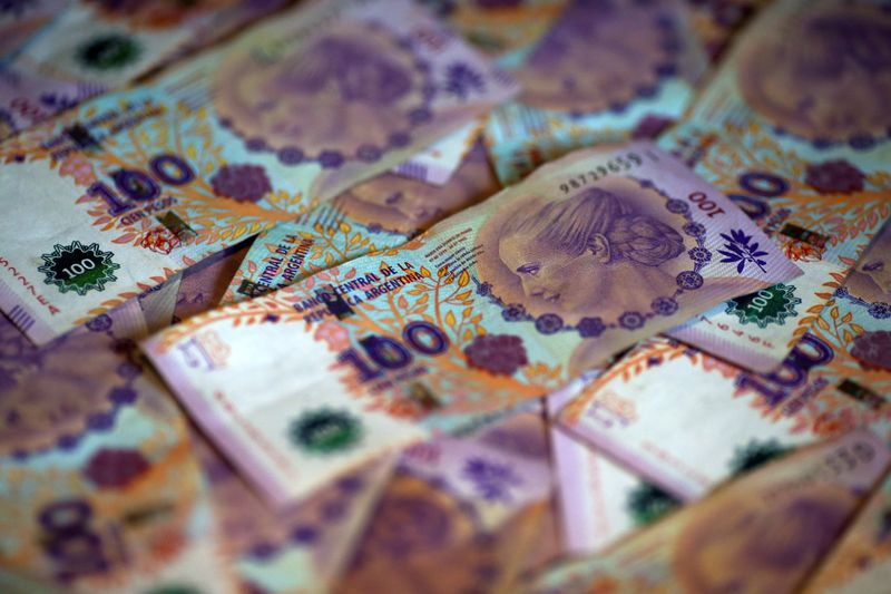 FILE PHOTO: Argentine one hundred peso bills are displayed in this picture illustration