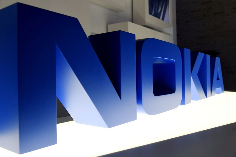 The logo of Nokia is seen before the company's news conference in Espoo