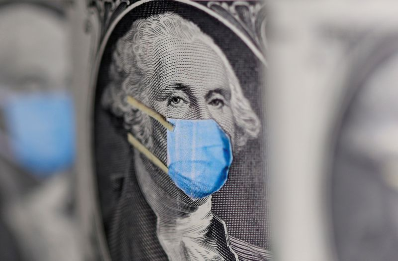 FILE PHOTO: FILE PHOTO: George Washington is seen with printed medical mask on the one Dollar banknote in this illustration taken