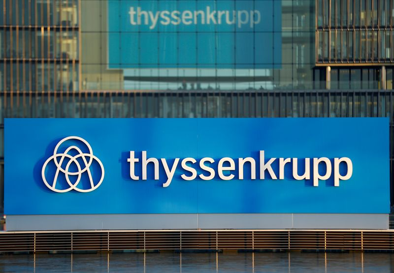 A logo of Thyssenkrupp AG is pictured at the company's headquarters in Essen