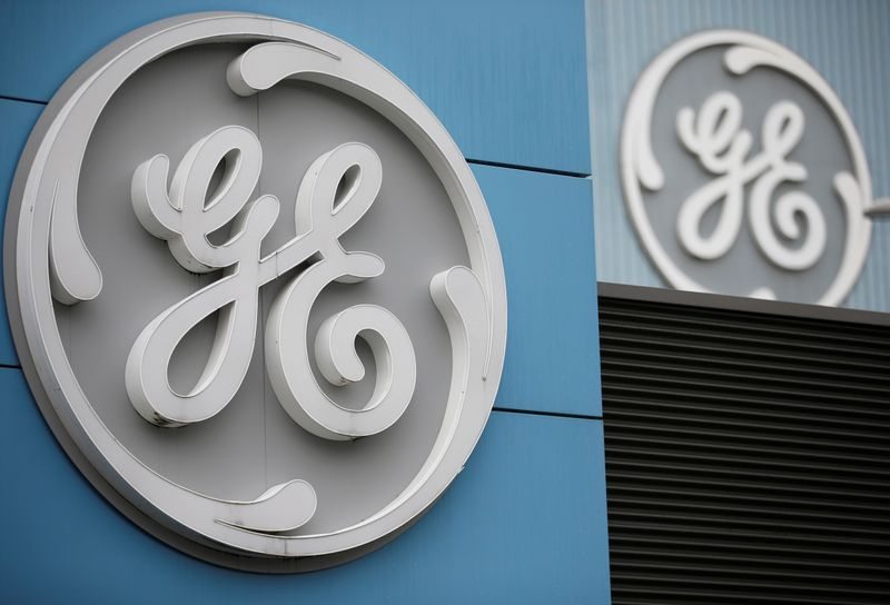 The logo of U.S. conglomerate General Electric is seen on the company building in Belfort