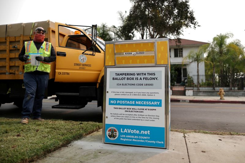 FILE PHOTO: Workers install one of 123 Vote by Mail Drop Boxes outside a public library, amid the global outbreak of the coronavirus disease (COVID-19), in Los Angeles