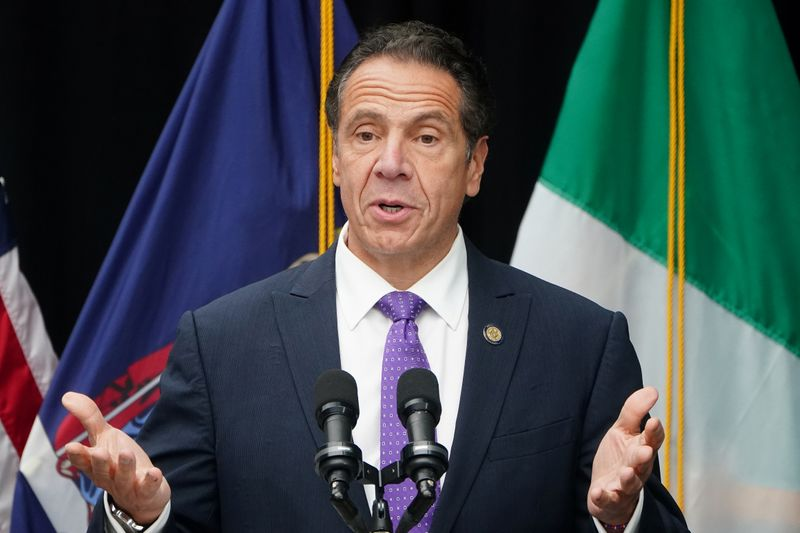 Governor of New York Andrew Cuomo speaks at the unveiling for the Mother Cabrini statue