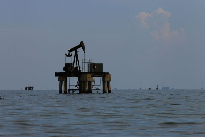An oil pumpjack is seen at Lake Maracaibo in Lagunillas