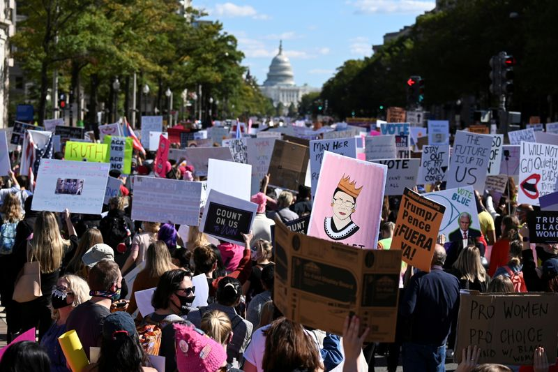People participate in a nationwide protest against U.S. President Donald Trump's decision to fill the seat on the Supreme Court, in Washington
