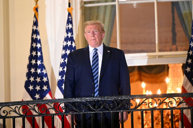 FILE PHOTO: U.S. President Donald Trump returns to the White House after being hospitalized at Walter Reed Medical Center for coronavirus disease (COVID-19), in Washington