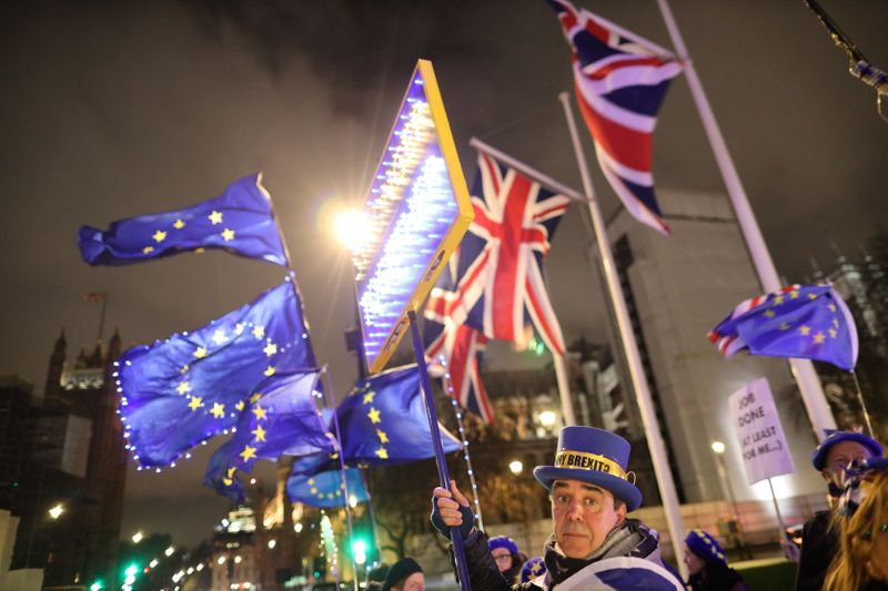 FILE PHOTO: Anti-Brexit protesters demonstrate outside the Houses of Parliament in London