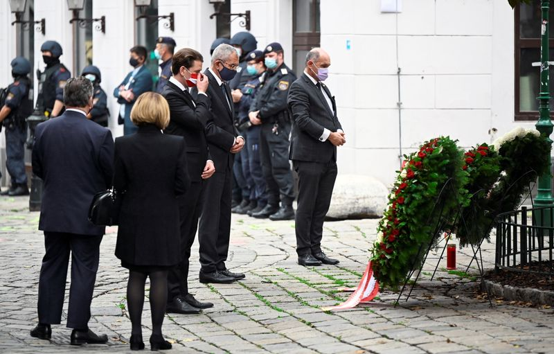 Wreath laying ceremony after a gun attack in Vienna