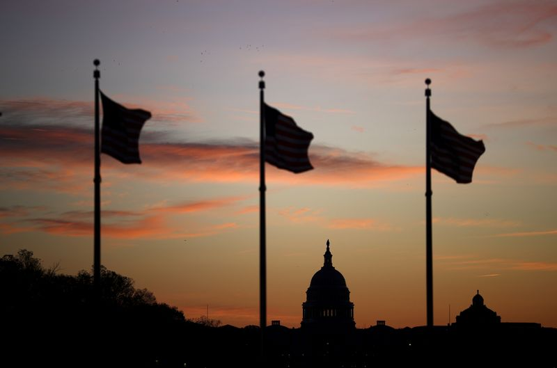 The U.S. Capitol is seen at sunrise during the election day, in Washington