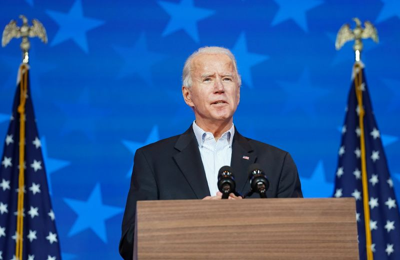 Democratic U.S. presidential nominee Biden speaks about the 2020 presidential election in Wilmington, Delaware