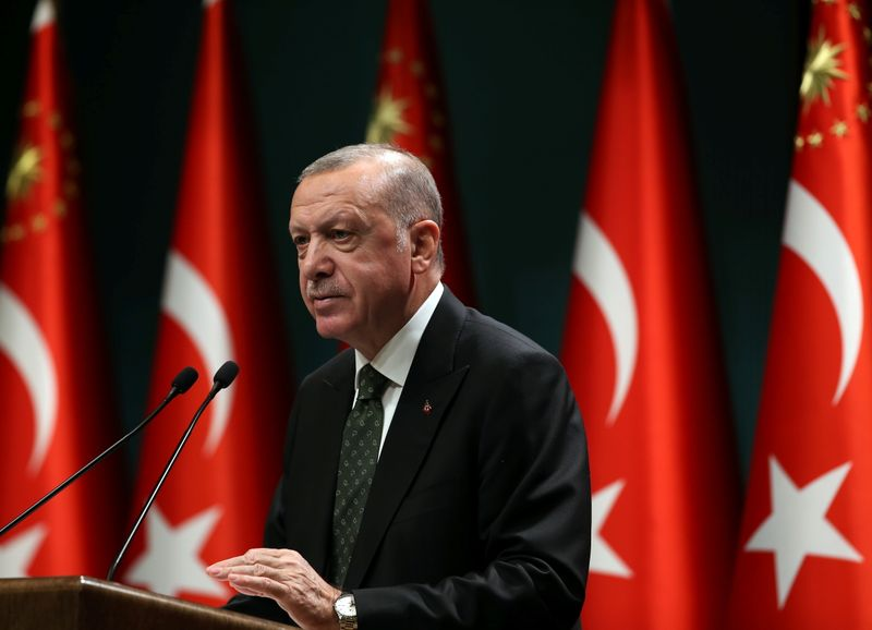 FILE PHOTO: Turkish President Erdogan speaks in Ankara
