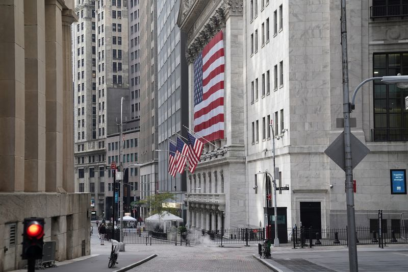 A U.S flag is seen on the New York Stock Exchange in the Manhattan borough of New York City