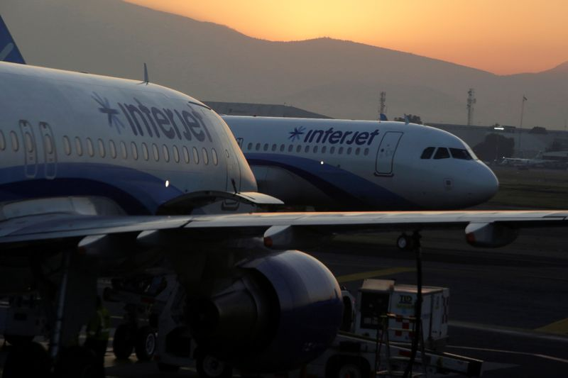 FILE PHOTO: Interjet Airbus A320 aircraft are seen on the tarmac at Benito Juarez international airport in Mexico City
