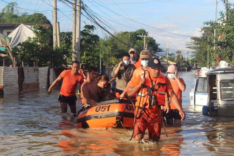Philippine Coast Guard conduct a rescue operation following Typhoon Vamco in the Cagayan Valley region