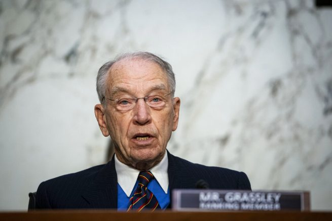 Ranking member Sen. Chuck Grassley, R-Iowa, speaks during a confirmation hearing for Judge Merrick Garland, nominee to be Attorney General, before the Senate Judiciary Committee, Monday, Feb. 22, 2021 on Capitol Hill in Washington. (Al Drago/Pool via AP)