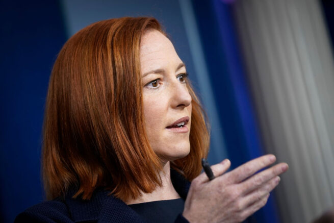WASHINGTON, DC - MARCH 29: White House Press Secretary Jen Psaki speaks during the daily press briefing at the White House on March 29, 2021 in Washington, DC. Later on Monday, President Joe Biden will deliver remarks on the COVID-19 response and the state of vaccinations. (Photo by Drew Angerer/Getty Images)