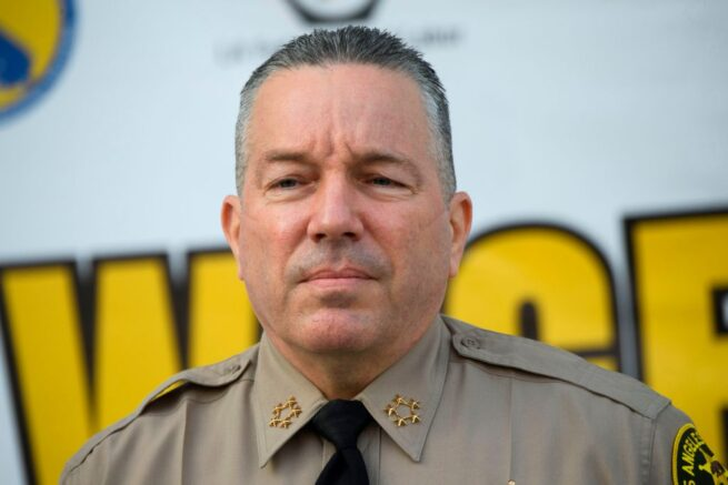 Sheriff Alex Villanueva of the Los Angeles Sheriff's Department (LASD) speaks about a task force targeting wage theft outside of the Hall of Justice on February 9, 2021 in Los Angeles, California. (Photo by Patrick T. FALLON / AFP) (Photo by PATRICK T. FALLON/AFP via Getty Images)