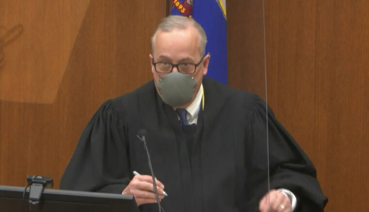 In this image from video, Hennepin County Judge PeterCahill presides, Wednesday, March 31, 2021, in the trial of former Minneapolis police Officer Derek Chauvin, in the May 25, 2020, death of George Floyd, at the Hennepin County Courthouse in Minneapolis, Minn. (Court TV via AP, Pool)