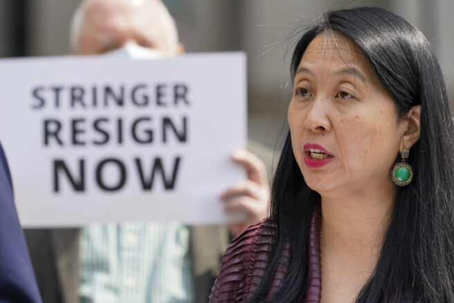 Jean Kim speaks to reporters during a news conference, Wednesday, April 28, 2021, in New York. Kim, who once worked as an unpaid intern for City Comptroller Scott Stringer, a contender to become New York City's next mayor, accused him Wednesday of groping her without consent. Stringer denied the allegations. (AP Photo/Mary Altaffer)