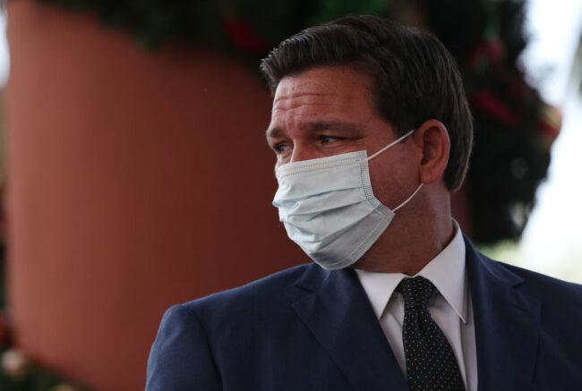 POMPANO BEACH, FLORIDA - DECEMBER 16: Florida Gov. Ron DeSantis attends a press conference where he spoke about the Pfizer-BioNtech COVID-19 vaccine at the John Knox Village Continuing Care Retirement Community on December 16, 2020 in Pompano Beach, Florida. The facility, one of the first in the country to do so, vaccinated approximately 170 people including healthcare workers and elder care people. (Photo by Joe Raedle/Getty Images)