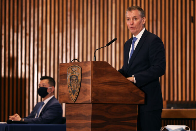 NEW YORK, NEW YORK - MARCH 25: NYPD Commissioner Dermot F. Shea speaks during a press conference at the NYPD headquarters in Manhattan on March 25, 2021 in New York City. NYPD Executives along with members of the Asian Hate Crimes Task Force held a press conference to speak about new Asian hate crime initiatives to address the rise in hate crimes against the Asian community since the start of the coronavirus (COVID-19) pandemic in 2020. (Photo by Michael M. Santiago/Getty Images)