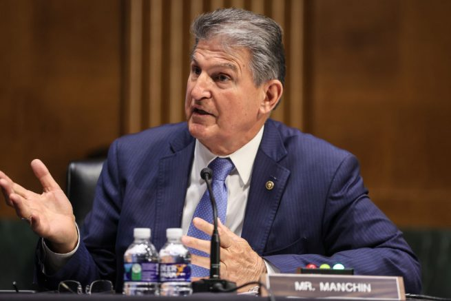 WASHINGTON, DC - APRIL 20: Sen. Joe Manchin, D-WV., speaks during a Senate Appropriations Committee hearing to examine the American Jobs Plan, focusing on infrastructure, climate change, and investing in our nations future on April 20, 2021 in Washington, DC. Members of President Biden's cabinet are testifying about the American Jobs Plan, the administration's $2.3 trillion infrastructure plan that has yet to win over a single Republican in Congress. (Photo by Oliver Contreras-Pool/Getty Images)