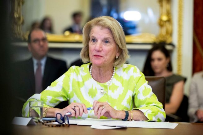 "WASHINGTON, DC - JUNE 11: Senator Shelley Moore Capito (R-WV), speaks during a roundtable discussion with the Senate Foreign Relations Subcommittee on the U.S. strategy for implementing the The Women, Peace, and Security Act,"" on Capitol Hill on June 11, 2019 in Washington, DC. U.S. With this legislation, the U.S. hopes to increase women's leadership in political and civil life by ensuring that women are empowered and have the resources needed to participate in political processes including preventing and resolving conflict negotiations (Photo by Anna Moneymaker/Getty Images)"