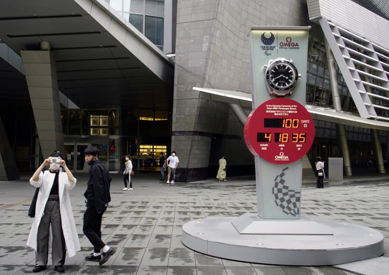A countdown clock for the Tokyo 2020 Paralympic Games is seen in Tokyo