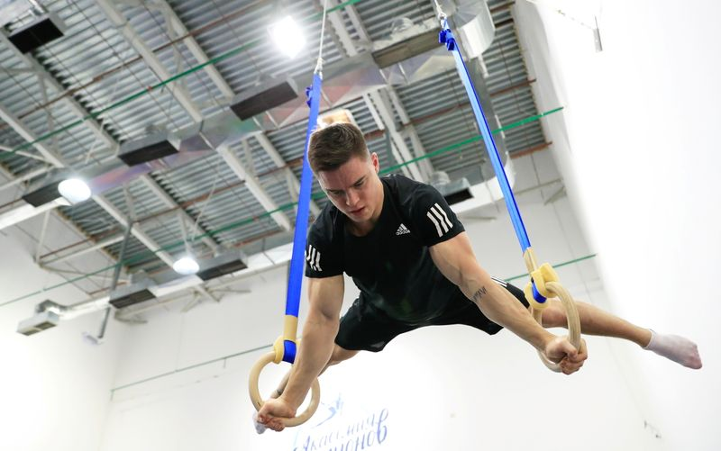 Russian gymnast Nikita Nagornyy, the world all-around champion, trains in preparation for the Tokyo 2020 Olympic Games in Moscow