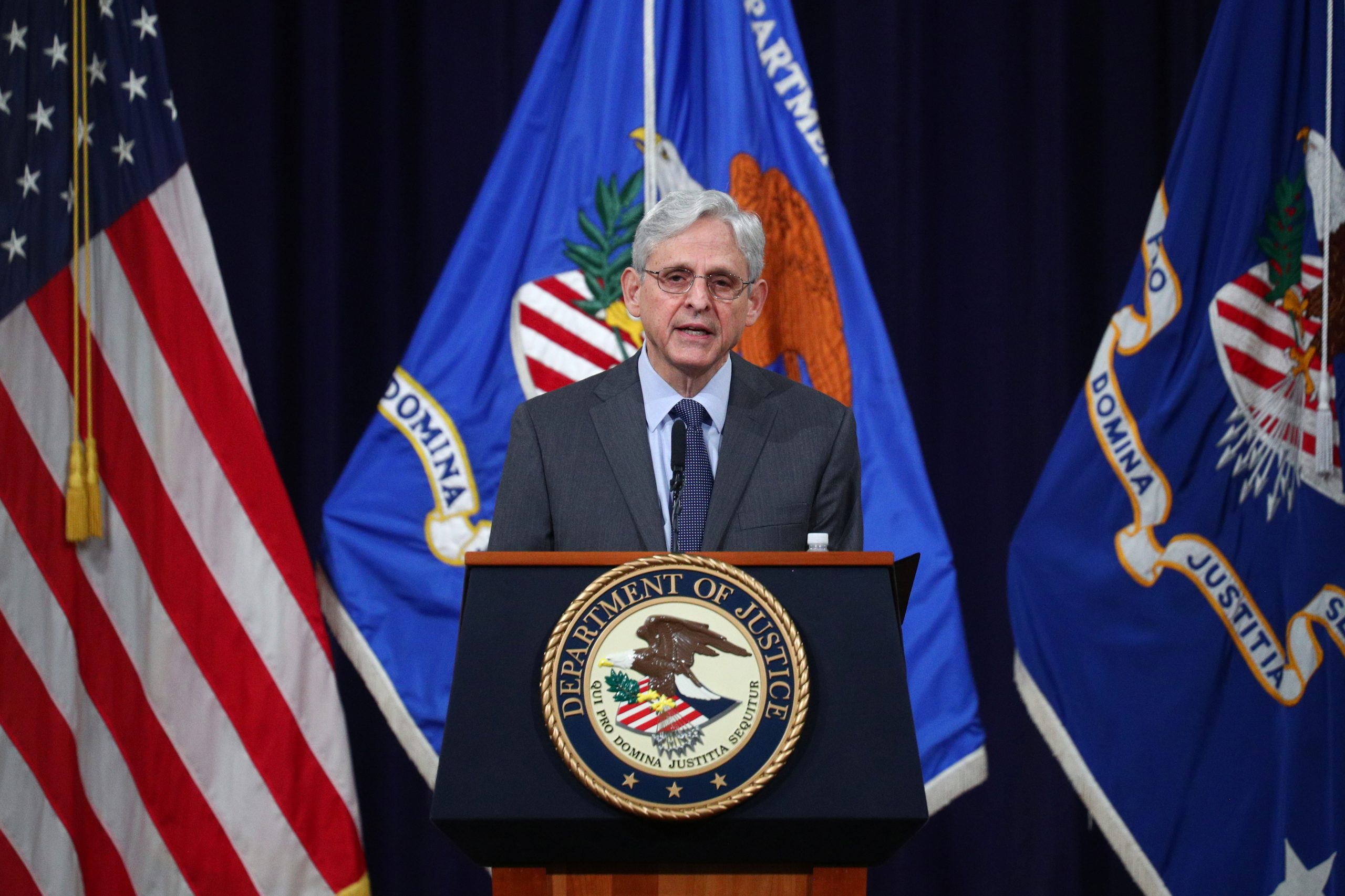 U.S. Attorney General Merrick Garland delivers remarks on voting rights at the U.S. Department of Justice in Washington