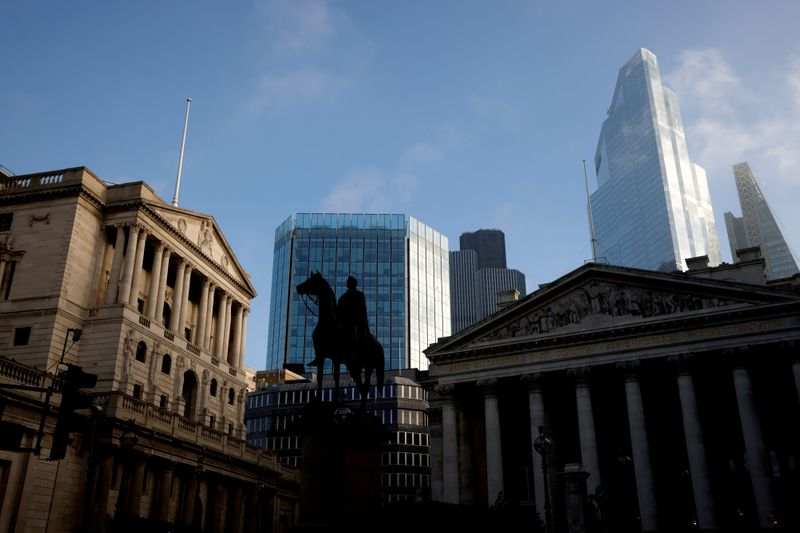 FILE PHOTO: FILE PHOTO: A general view shows The Bank of England and the City of London financial district, amid the outbreak of the coronavirus disease (COVID-19), in London,