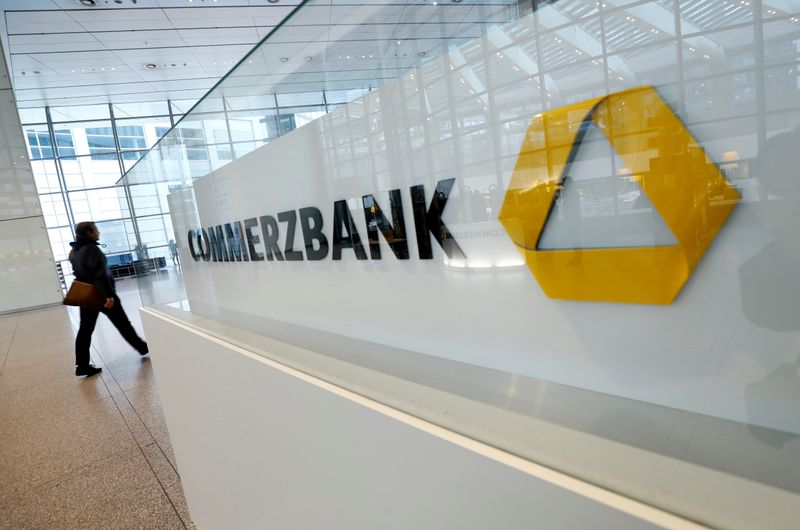 FILE PHOTO: A company logo is pictured at the headquarters of Germany's Commerzbank
