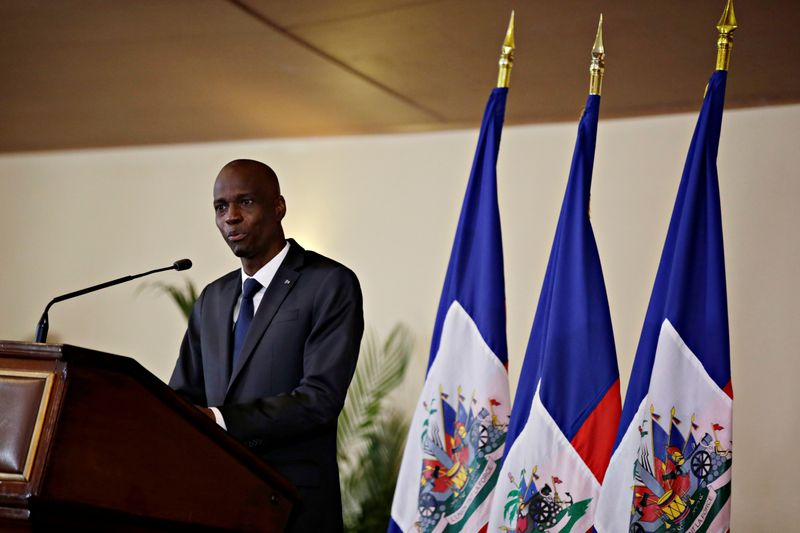FILE PHOTO: Haiti's President Moise speaks during the investiture ceremony of the independent advisory committee for the drafting of the new constitution at the National Palace in Port-au-Prince