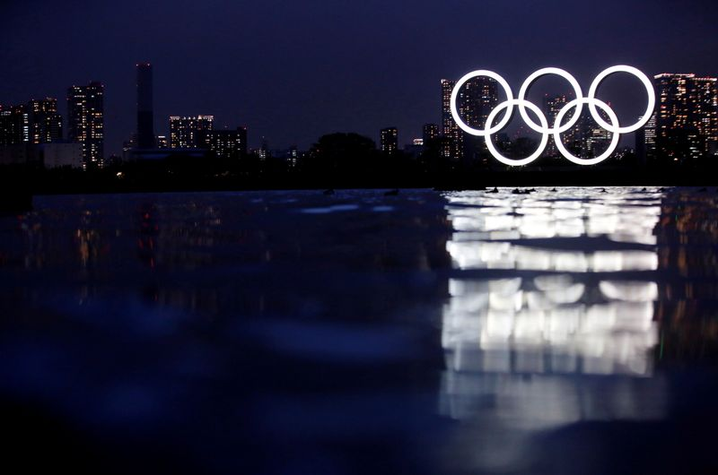 An Olympic rings monument is pictured in the waterfront area at Odaiba Marine Park in Tokyo