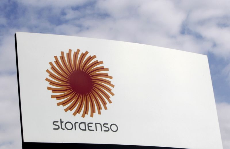 FILE PHOTO: FILE PHOTO: Stora Enso company logo is seen near a packaging mill in Riga
