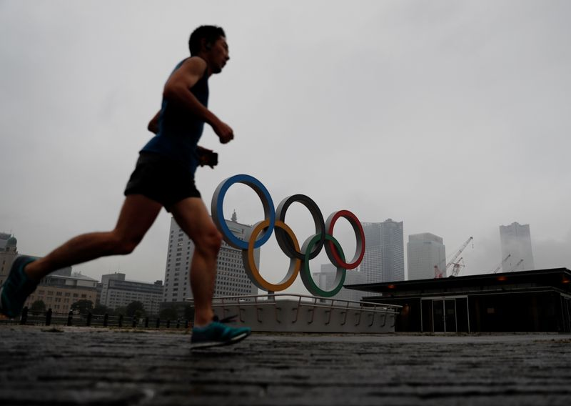 Newly installed Olympic rings for celebrating the 2020 Tokyo Olympic Games in Yokohama