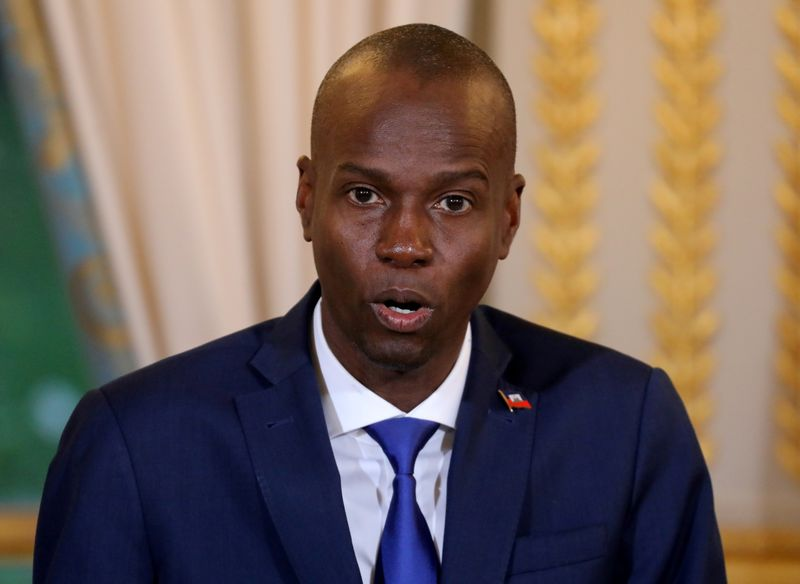 FILE PHOTO: Haitian President Moise Jovenel speaks during a press conference at the Elysee Palace in Paris