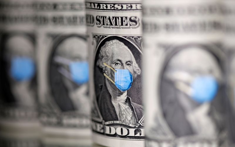 George Washington is seen with printed medical mask on the one Dollar banknotes in this illustration taken