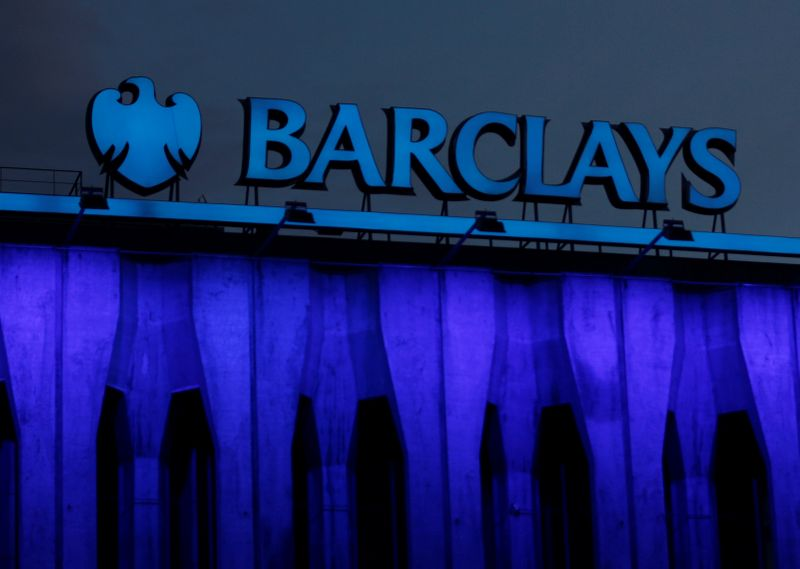 FILE PHOTO: The logo of Barclays is seen on the top of one of its branch in Madrid