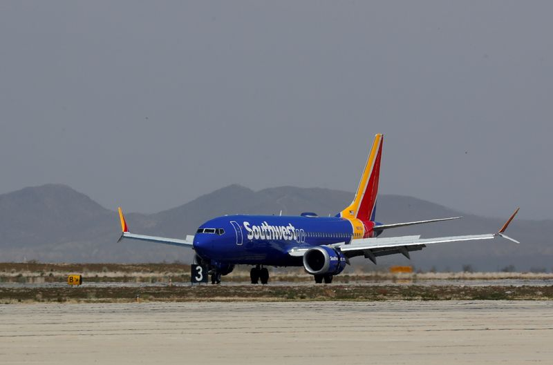 FILE PHOTO: A Southwest Airlines Boeing 737 MAX 8 aircraft lands at Victorville Airport in Victorville, California