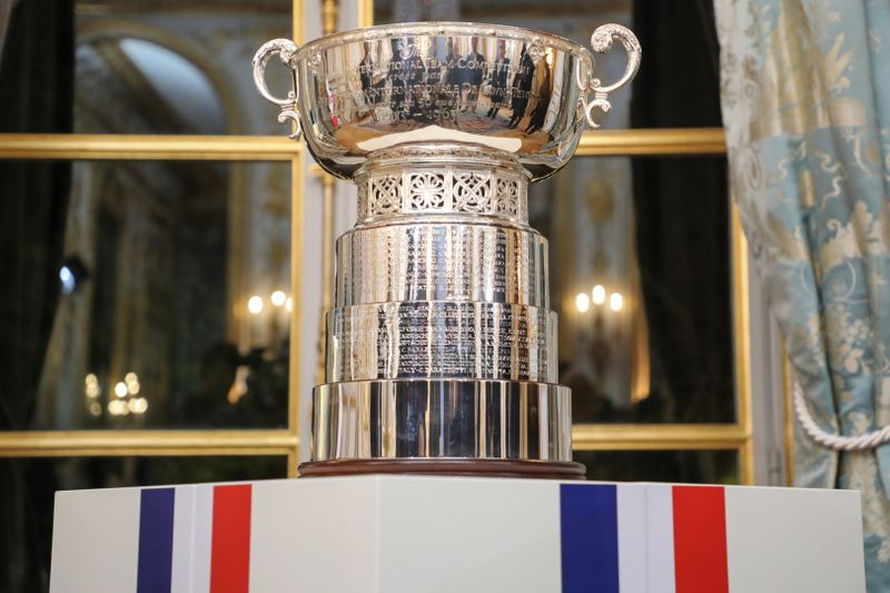 A general view of the Fed Cup's trophy displayed during a reception at the Elysee Presidential Palace in Paris