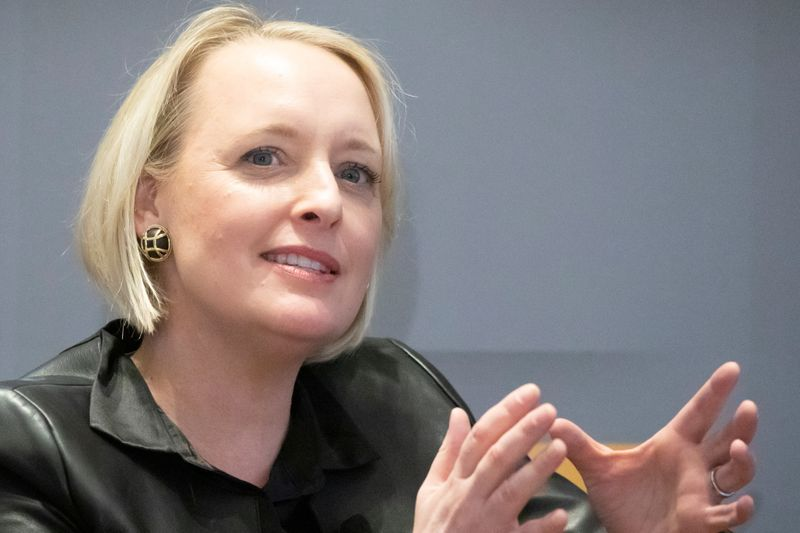 FILE PHOTO: Accenture CEO Julie Sweet speaks during a meeting with the Economic Club of New York in New York City, New York
