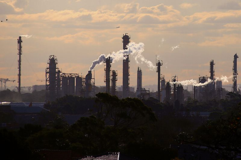 Birds and a plane are seen flying above emission from the chimneys of a chemical plant located near Port Botany in Sydney