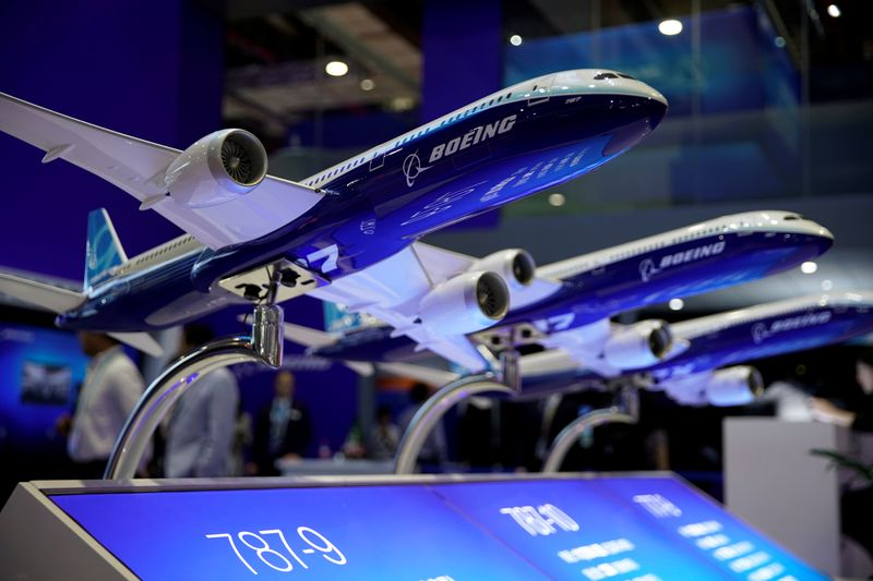 A Boeing model is seen at the second China International Import Expo (CIIE) in Shanghai