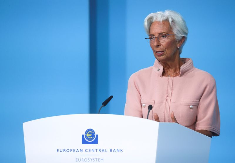 FILE PHOTO: ECB President Lagarde takes part in a news conference in Frankfurt