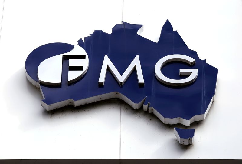 FILE PHOTO: Photo of the logo of Fortescue Metals Group adorning their headquarters in Perth, Australia
