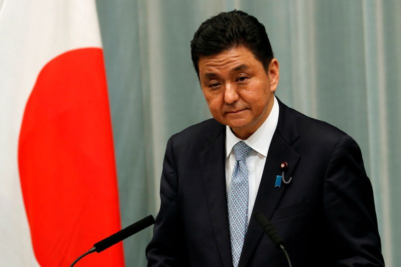 FILE PHOTO: Japan's Defense Minister Nobuo Kishi attends a news conference in Tokyo