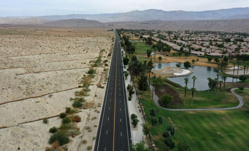 FILE PHOTO: View of golf course as California faces its worst drought since 1977 in Palm Desert